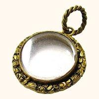 Early Gilt Metal and Glass Circular Locket