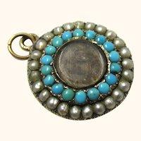 Sentimental Gold, Pearl, Turquoise & Plaited Hair Locket, Georgian