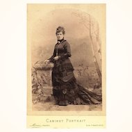 Cabinet Card of Lady wearing Bustle Gown & Guard Chain, c1875