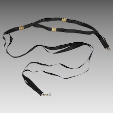 Rare Black Silk Ribbon & Gold Nurse's Guard Chain, late 19th Century