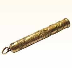Art Nouveau Gold Filled Retractable Pen & Pencil with Attachment Ring