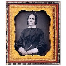 Interesting Daguerreotype of Older Lady wearing Chatelaine Chain at Waist, Sixth Plate, c1850