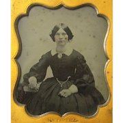 Hand-coloured Ambrotype of Pretty Girl with Watch Chatelaine, M.B. Yarnall, Sixth Plate, American, mid-19th Century