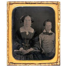 Hand-coloured Ambrotype of Mother & Child, Gold Guard Chain & Watch, mid-19th Century