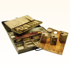 Rare Complete Tole Paint Box, Victorian