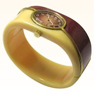 Stylish Dior/Bulova Two-tone Clamper Bangle Watch, mid-19th Century