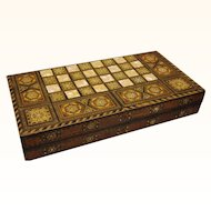 Middle Eastern Intarsia Combined Folding Chess & Backgammon Board, Vintage
