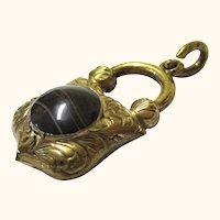 Gilt Metal & Agate Padlock-form Charm, Vintage