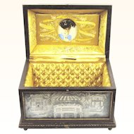 Superb Romantic German Hand-painted Porcelain Marriage Casket or Bride's Box, dated 1895