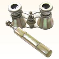 Lovely Mother of Pearl & Silver Metal Opera Glasses with Handle, Antique