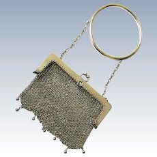 Sterling Silver Mesh Purse with Bangle, early 20th Century
