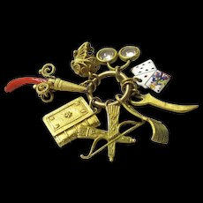 """Rare Symbolic """"Ages of Man"""" Gold, Enamel & Coral Breloque/Charm, early 19th century"""