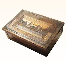 Interesting French POW Straw Work Trinket Box, c1810