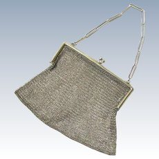 Sterling Silver Mesh Purse and Chain, Sheffield, early 20th Century