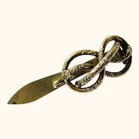 French Silver Gilt Watch Hook, Knot-form, early Victorian