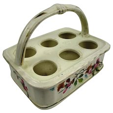 Attractive Ceramic Egg Carrier/Basket with Floral Decoration, 19th Century