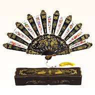 Stunning Complete Boxed Lacquer & Embroidered Fan, Oriental, mid-19th Century