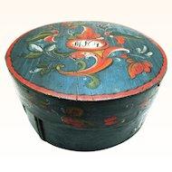 Stunning Scandinavian/Norwegian Circular Telemark Rosemaled Box, Initialed & Dated 1831