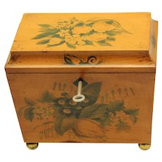 Regency Floral Penwork Tea Caddy with working key and two foil-lined lidded compartments