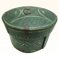 Scandinavian Rosemaled Circular Bentwood Box Dated 1869