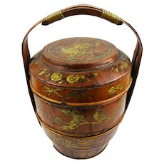 Early Chinese Treen, Bamboo & Lacquer Carrying Food/Picnic Basket, c1900