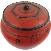 Appealing Red & Black Lacquer Chinese Rice Container/Bowl, c1830