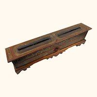 Interesting Tibetan Treen & Lacquer Incense Box with Drawer & Incense Sticks, 19th Century