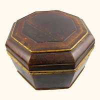 Elegant Octagonal Treen & Bamboo Chinese Hat Box with Poems, c1800
