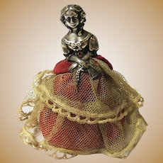 "Delicious Sterling Silver Needle/Pincushion ""Victorian"" Lady, Birmingham, c1913"