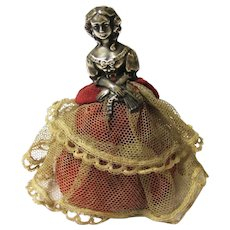 """Delicious Sterling Silver Needle/Pincushion """"Victorian"""" Lady, Birmingham, c1913"""