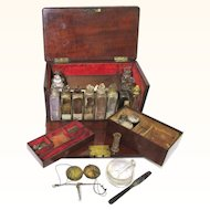 Quality Mahogany & Brass Fully Fitted Fall-front Lockable Medicine Chest, English, 19th Century