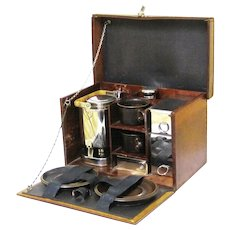 Special Leather-covered Fitted Picnic Box with Amazing Tea Kettle, early 20th Century