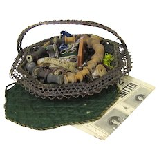 Charming Vintage Wicker & Silk Sewing Basket with Contents, early 20th Century