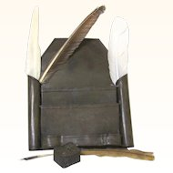 Tole Wall Writing Box with Feather Quills & Pounce Pot, The Tripp Trust, early 19th century