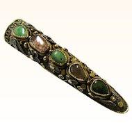 Chinese Filigree, Enamel & Semi-precious Stone Finger Guard Brooch, Vintage