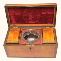 Elegant Complete Satinwood and Harewood Tea Caddy, c1800