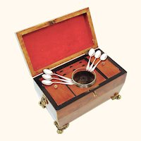 Unusual Mahogany Tea Caddy with Extra Slots for Spoons, Six Teaspoons Included, mid-Victorian