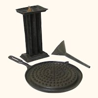 Interesting Candle Making Equipment – Mold, Funnel & Wax Pan, 19th Century