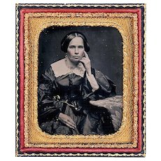 Ambrotype of Pensive Lady wearing Jewellery, hand-coloured, c1855