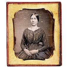 Daguerreotype in Full Case of Attractive Young Lady wearing Guard Chain, Sixth Plate, mid-19th Century