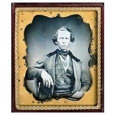 Daguerreotype of Intriguing Gentleman Sitter, Sixth Plate, Fully Cased, c1850
