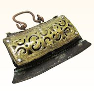 Ceremonial Tibetan Brass, Leather & Copper Flint Bag, 19th Century