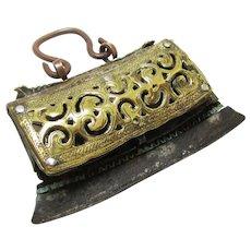 Ceremonial Tibetan Brass, Leather & Copper Flint Bag, 19th Century