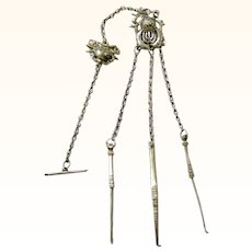 Quality Chinese Silver Opium Chatelaine, late 19th Century