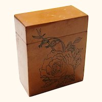Chinese Treen Card Box with Incised Rose Design, Vintage
