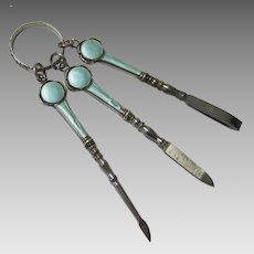 Attractive Finger Ring Manicure Set, Turquoise Blue Enamel & Steel, early 20th Century