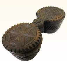 Appealing Chip-carved Folk Art Swivel Spice Box with Four Compartments, Asian, 19th Century