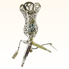 Desirable Silver Standing Posy Holder with Tripod Base & Security Pin, c1860