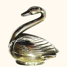 Charming Figural Swan Pepperette/Pepper in Sterling Silver, c1894