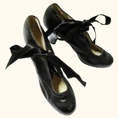 Charming Edwardian Pair of Black Leather Shoes with Ribbon Closure